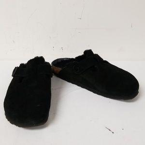 Birkenstock Black Suede Slide On Mules Size 37